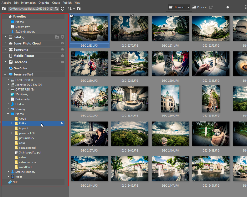 How to Import Photos - left panel