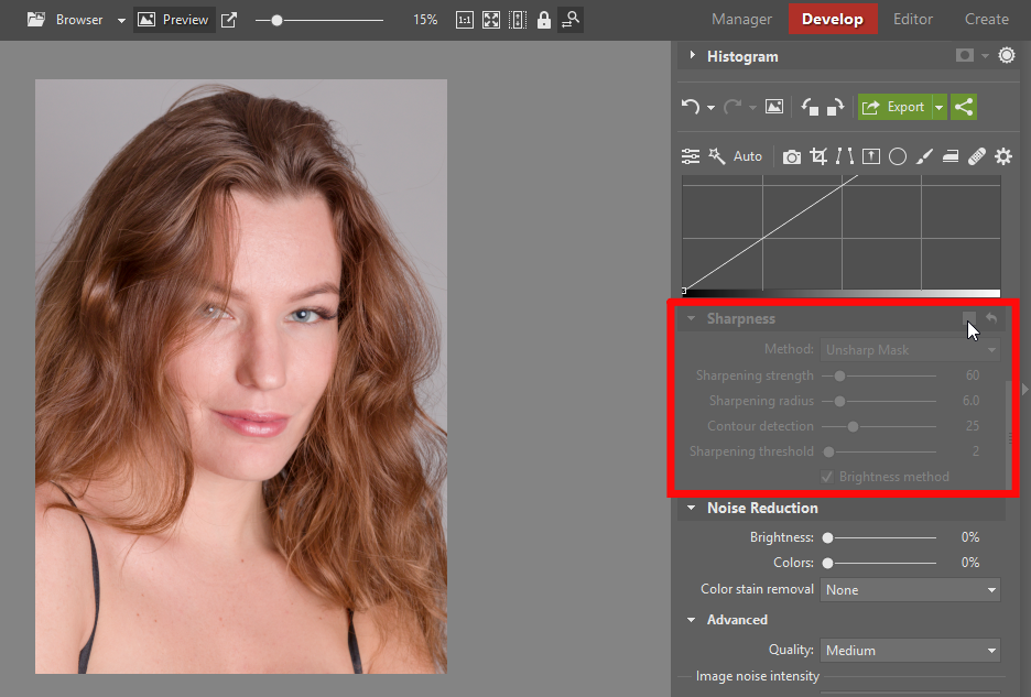 Learn to Retouch Portraits - turning off sharpening