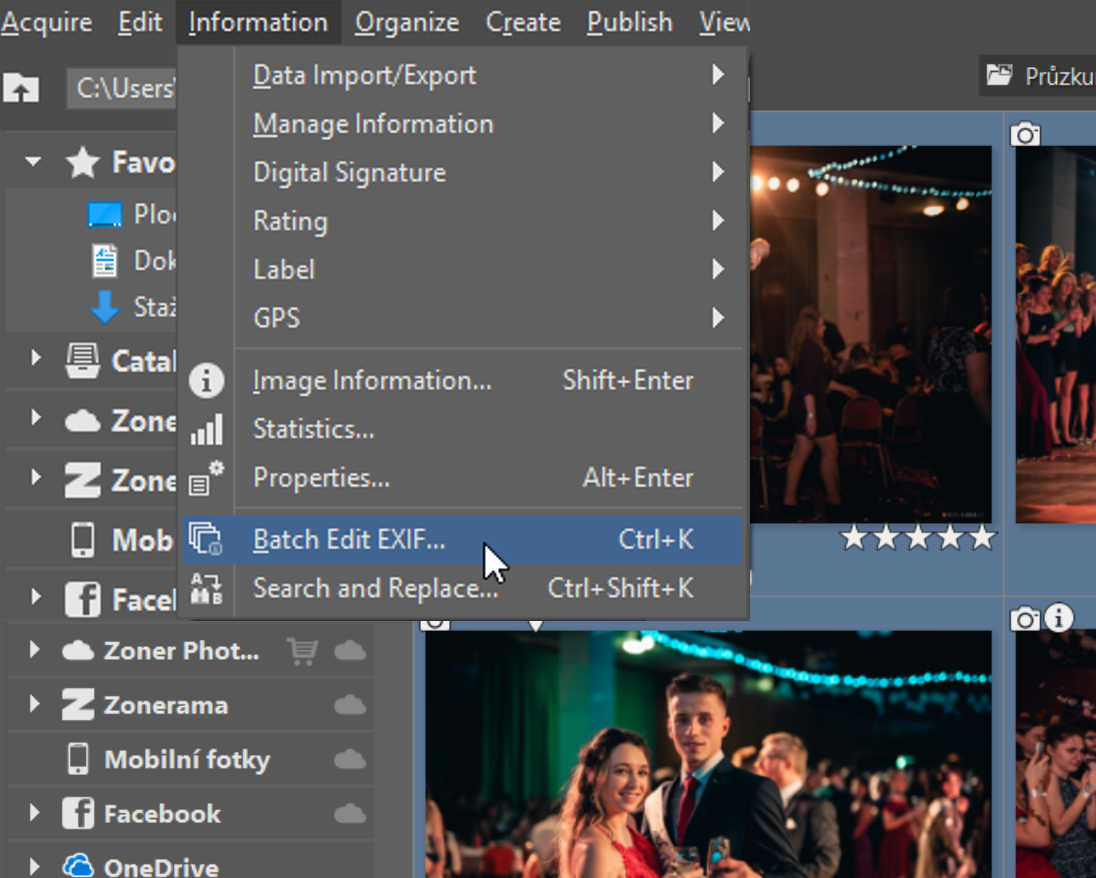 Using the Batch Edit EXIF window (Ctrl+K)