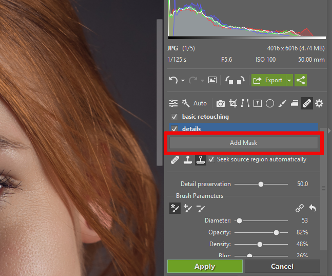 Portrait Retouching - add mask