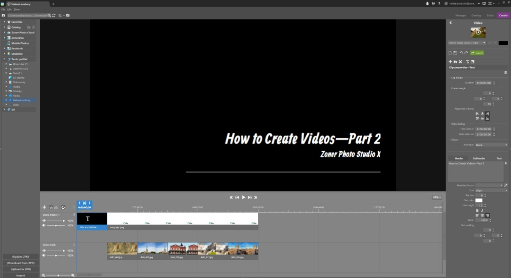 How to Create Videos in ZPS X - Part 2 - text