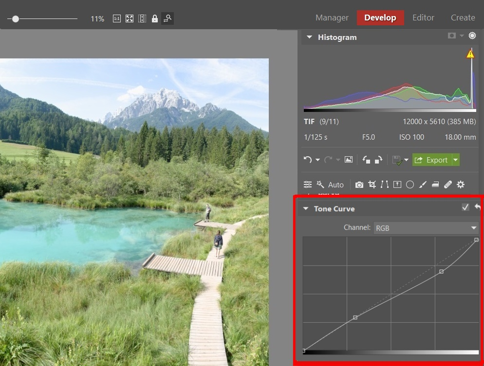 Guides for Editing Your Vacation Photos - tone curve