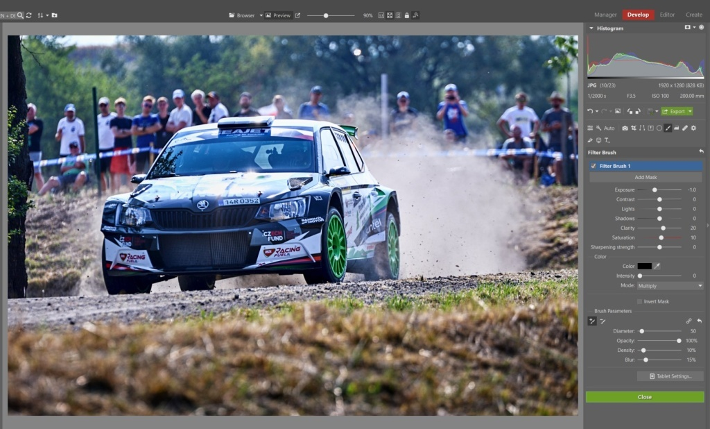 How to Edit Car Racing Photos - filter brush on windshield