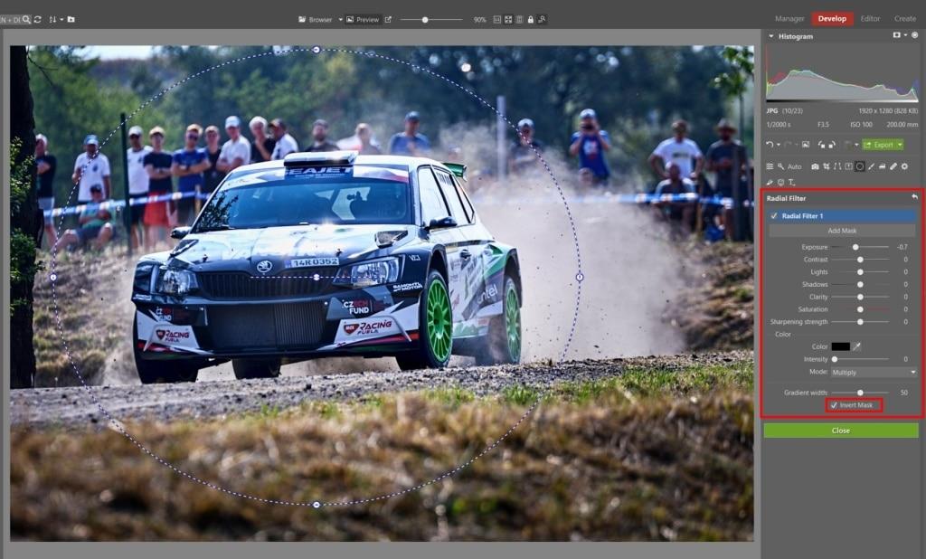 How to Edit Car Racing Photos - filter brush