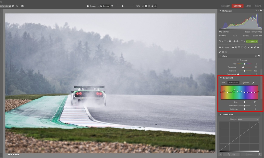 How to Edit Car Racing Photos - color shift