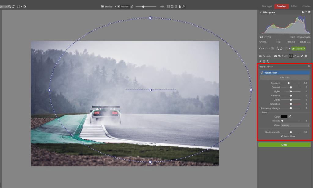 How to Edit Car Racing Photos - radial filter