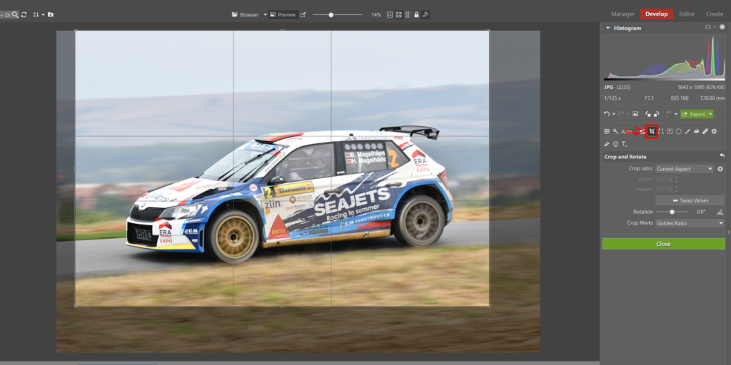 How to Edit Car Racing Photos - cropping photo in ZPS