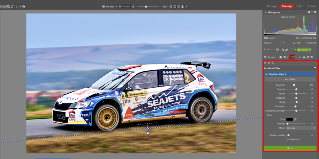 How to Edit Car Racing Photos - gradient filter in ZPS