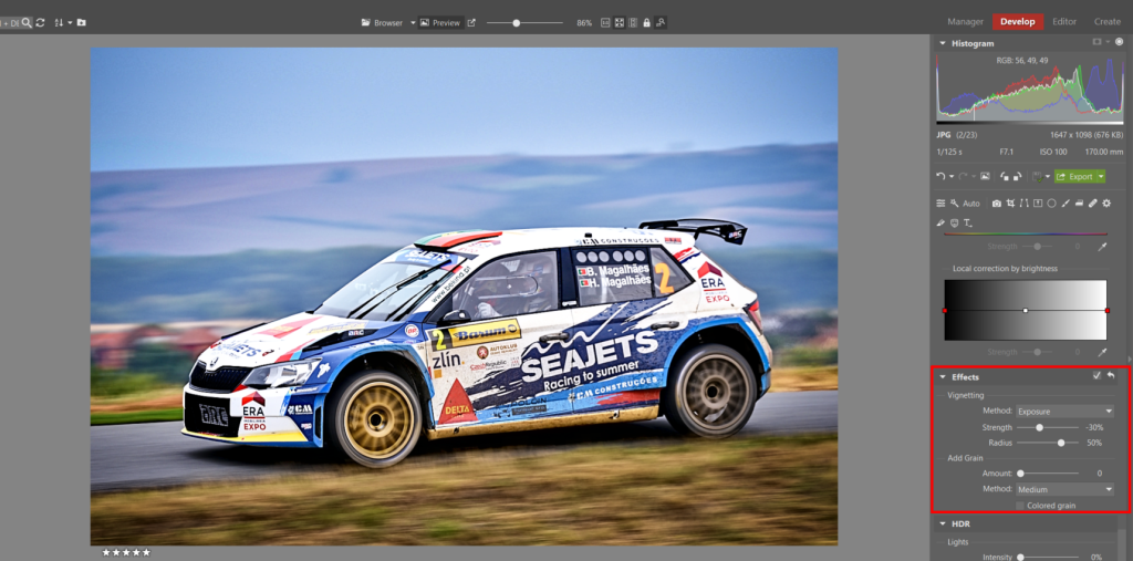 How to Edit Car Racing Photos - addding vignetting