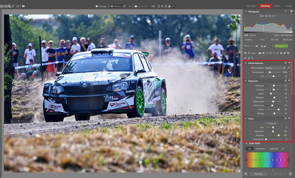 How to Edit Car Racing Photos - basic color changes