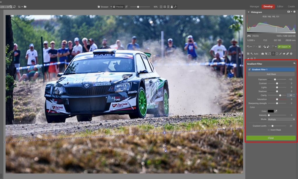 How to Edit Car Racing Photos - gradient filter