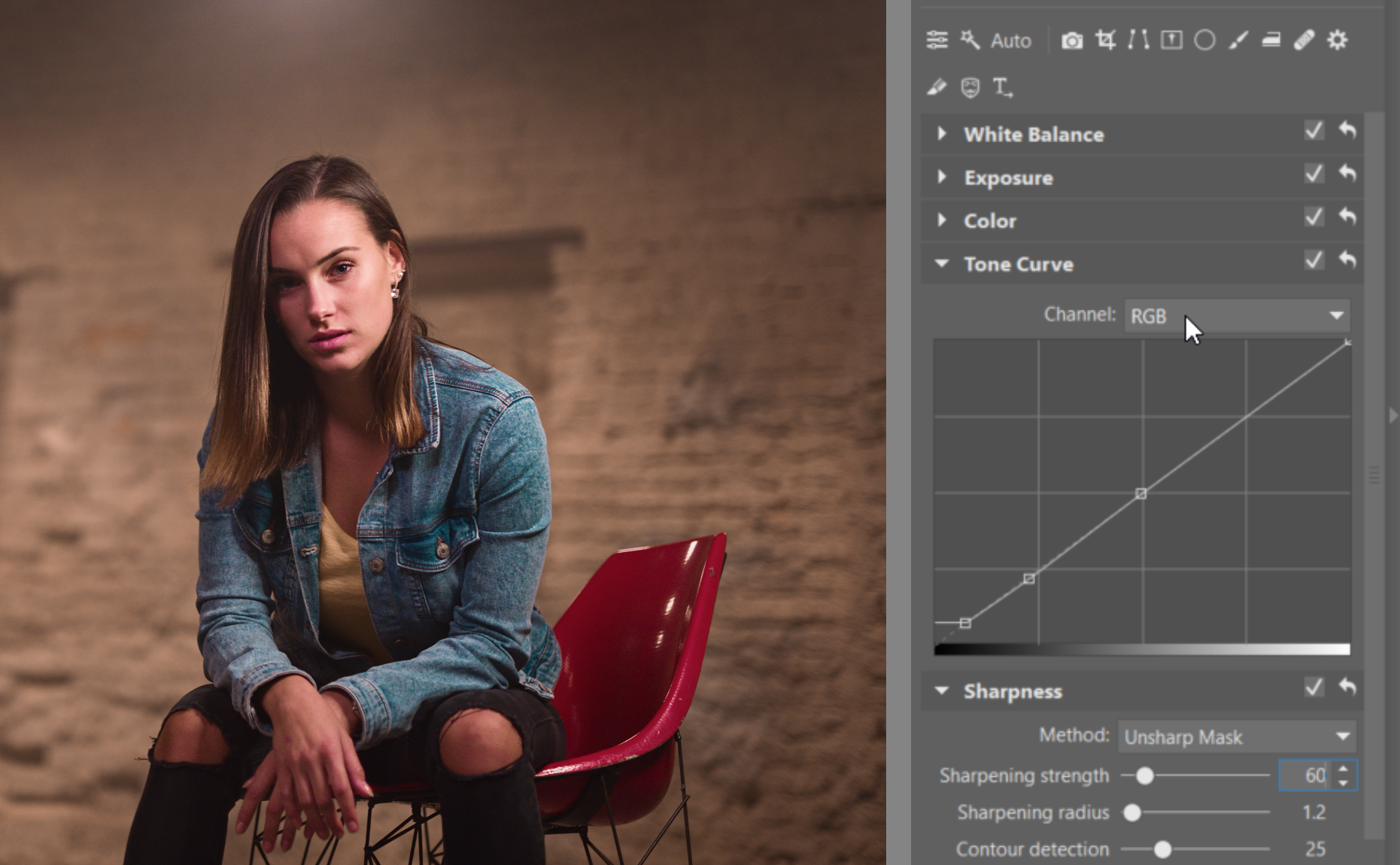 Try Editing a Nighttime Portrait - RGB curve