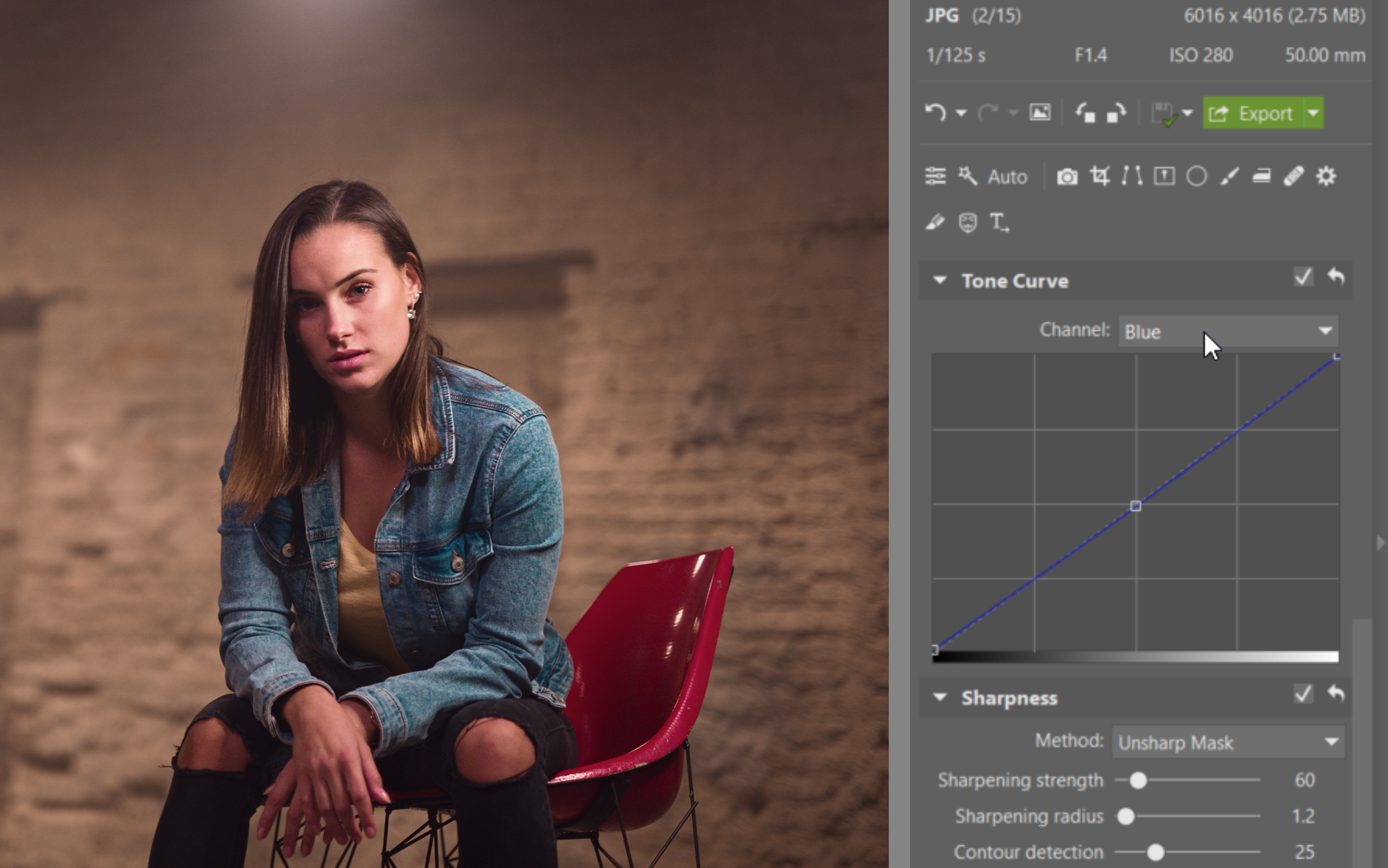 Try Editing a Nighttime Portrait - blue curve