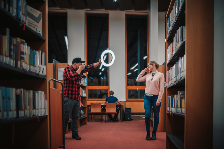 Portraits With an LED Ring Light - library