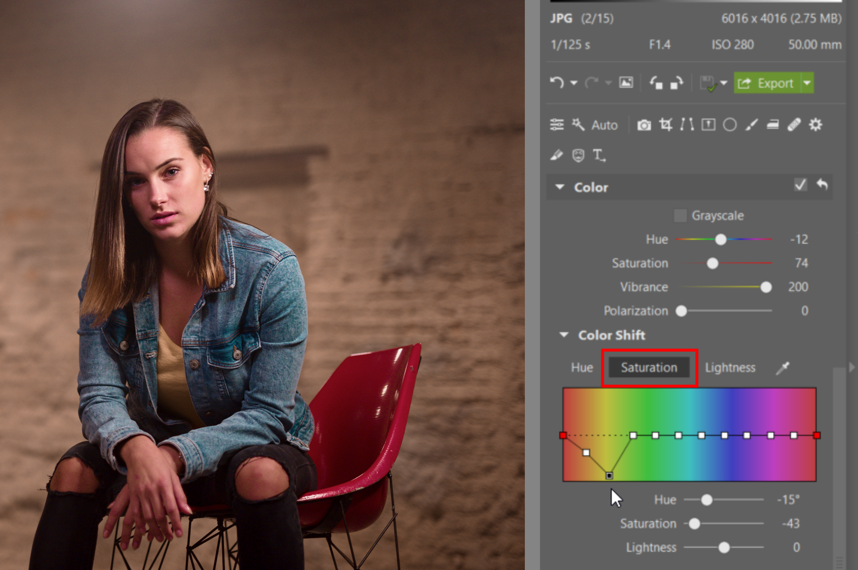 Try Editing a Nighttime Portrait - editing saturation
