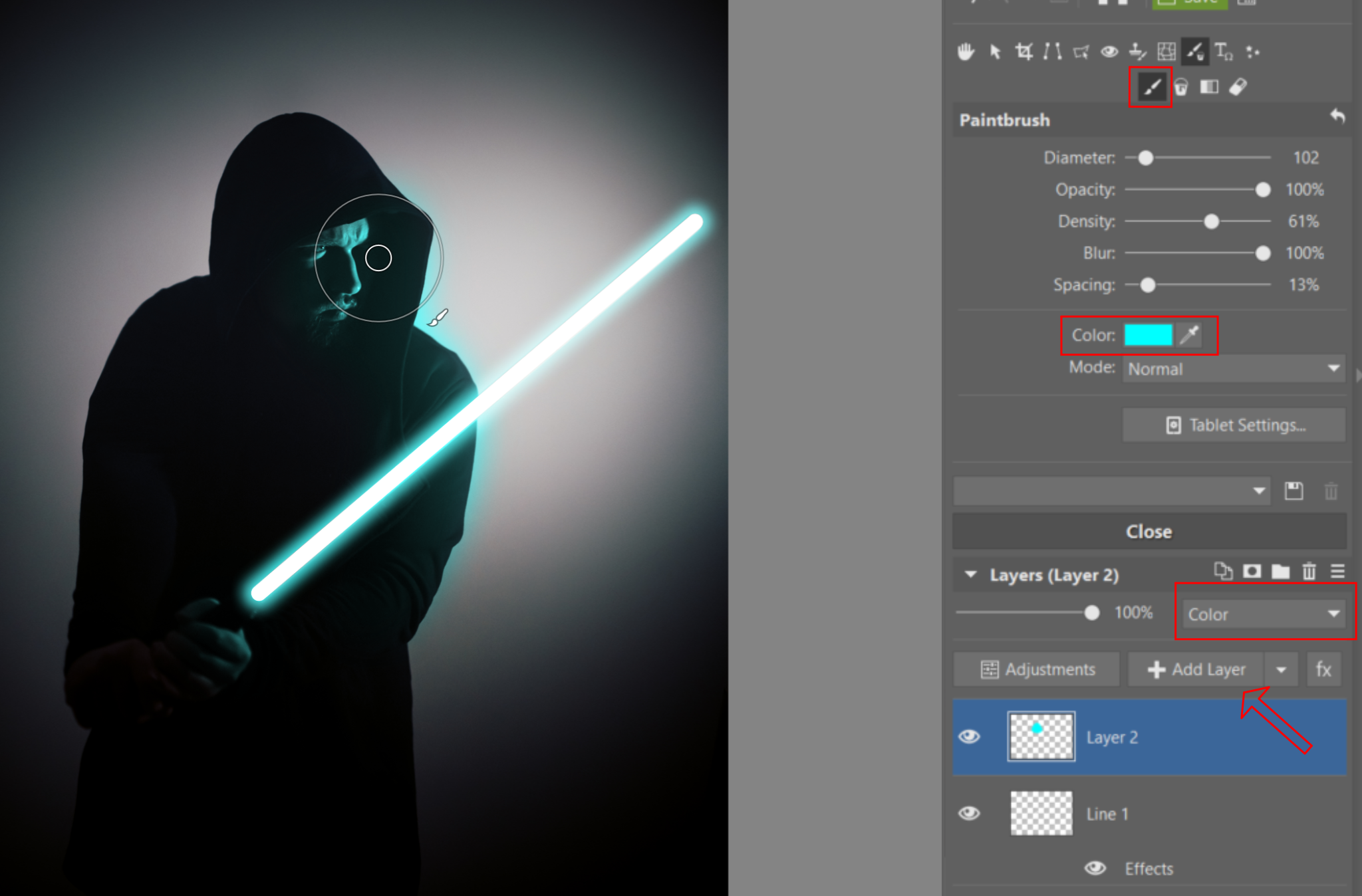 Create Your Own Lightsaber Photo - brush
