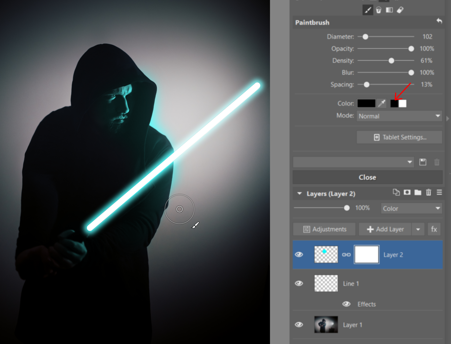 Create Your Own Lightsaber Photo - masking