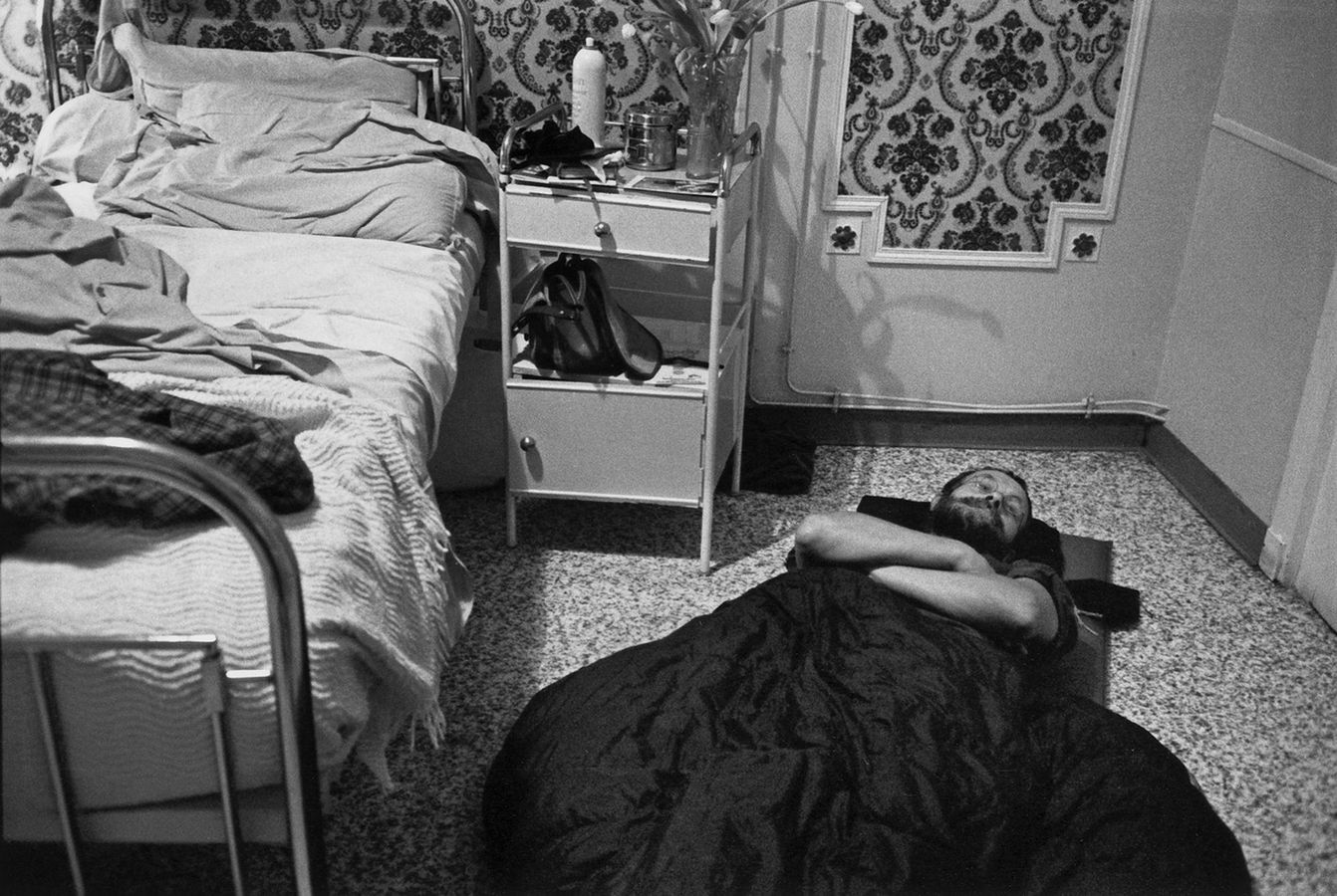 World-renowned Wanderer Josef Koudelka sleeping on floor