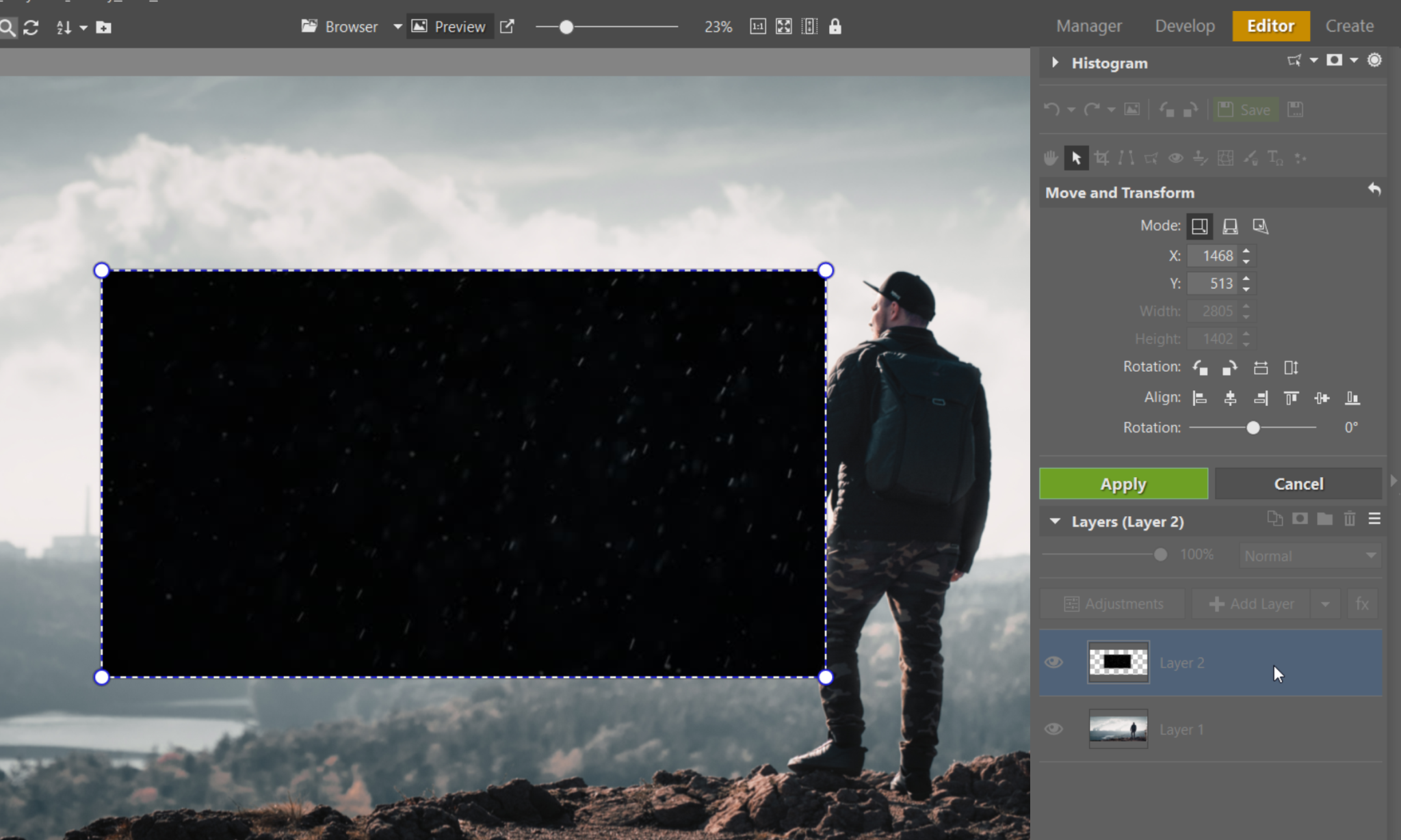 How to Add Snow to Your Photos: It's Easy With Layers - adjusting new layer