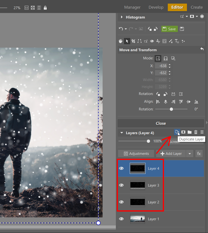 How to Add Snow to Your Photos: It's Easy With Layers - duplicating texture