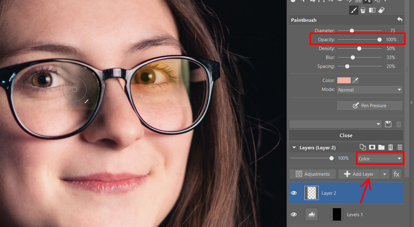 How to remove glare from eyeglasses and other glass objects. Use the Editor Module, masks, and layers.
